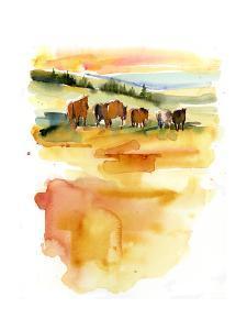 Horses at Sunset, 2015 by John Keeling