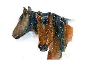 Horses in Winter, 2015 by John Keeling