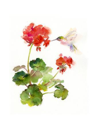 Hummingbird with Geranium, 2015
