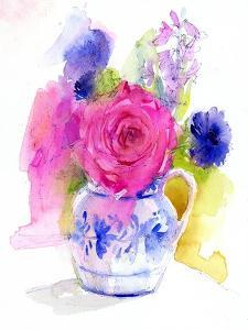 Rose and Cornflowers in Pitcher, 2017 by John Keeling