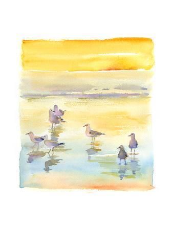 Seagulls on Beach, 2014