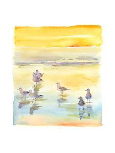 Seagulls on Beach, 2014 by John Keeling