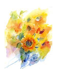 Sunflowers in Vase, 2016 by John Keeling