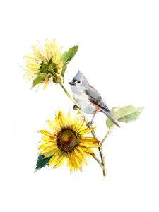 Titmouse with Sunflower, 2016 by John Keeling
