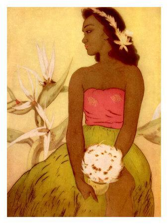 Hawaiian Woman with Flowers