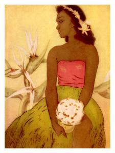 Hawaiian Woman with Flowers by John Kelly