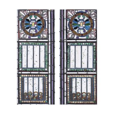 A Pair of Leaded Glass Windows