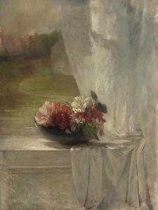 Flowers on a Window Ledge, c.1861 by John La Farge or Lafarge