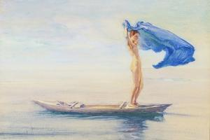 Girl in Bow of Canoe Spreading Out Her Loin-Cloth for a Sail, Samoa, c.1895-96 by John La Farge or Lafarge