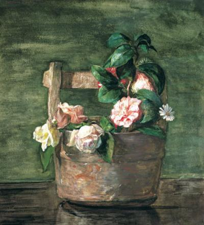 Camellias and Roses in Japanese Vase