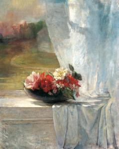 Flowers on a Window Ledge by John Lafarge