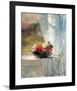 Flowers on a Window Ledge by John Lafarge