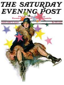"""""""A Fall from Skates,"""" Saturday Evening Post Cover, January 11, 1930 by John LaGatta"""