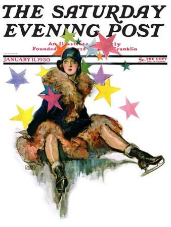 """A Fall from Skates,"" Saturday Evening Post Cover, January 11, 1930 by John LaGatta"