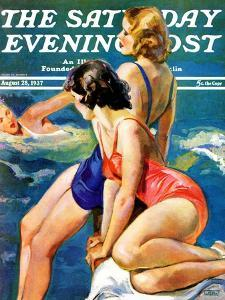 """""""At the Pool,"""" Saturday Evening Post Cover, August 28, 1937 by John LaGatta"""