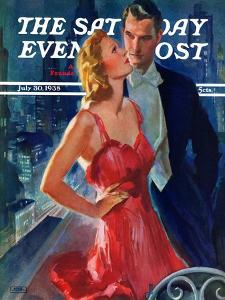 """""""Formal Couple on Balcony,"""" Saturday Evening Post Cover, July 30, 1938 by John LaGatta"""