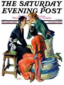 """Gossiping,"" Saturday Evening Post Cover, December 5, 1931 by John LaGatta"