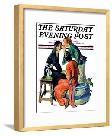 """Gossiping,"" Saturday Evening Post Cover, December 5, 1931"