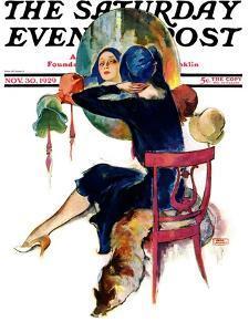 """Hat Shop,"" Saturday Evening Post Cover, November 30, 1929 by John LaGatta"