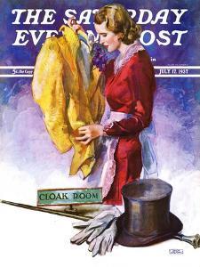 """Hatcheck Girl,"" Saturday Evening Post Cover, July 17, 1937 by John LaGatta"