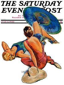 """Sunbathers,"" Saturday Evening Post Cover, July 5, 1930 by John LaGatta"