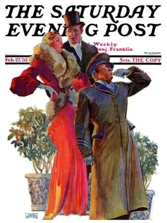 """""""Taxi!,"""" Saturday Evening Post Cover, February 27, 1932"""