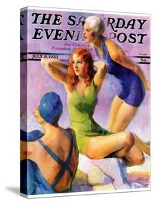"""Three Bathing Beauties,"" Saturday Evening Post Cover, July 8, 1933 by John LaGatta"