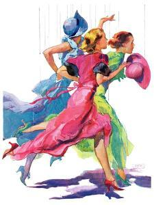 """Three Women Running from Rain,""April 2, 1932 by John LaGatta"