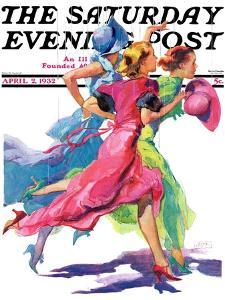 """Three Women Running from Rain,"" Saturday Evening Post Cover, April 2, 1932 by John LaGatta"