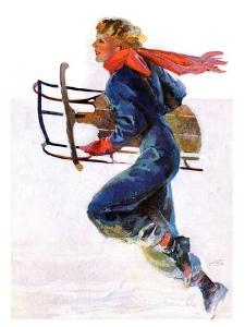 """Woman Sledder,""January 19, 1935 by John LaGatta"