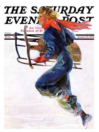 """""""Woman Sledder,"""" Saturday Evening Post Cover, January 19, 1935"""