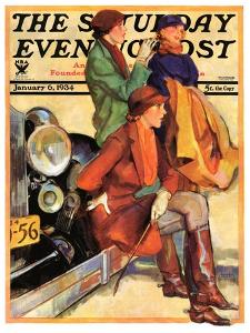 """Women in Riding Habits,"" Saturday Evening Post Cover, January 6, 1934 by John LaGatta"