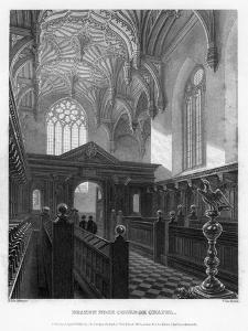 Brazen Nose (Brasenos) College Chapel, Oxford University, 1835 by John Le Keux