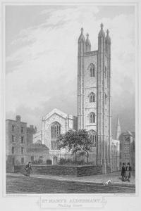 Church of St Mary Aldermary, City of London, 1839 by John Le Keux