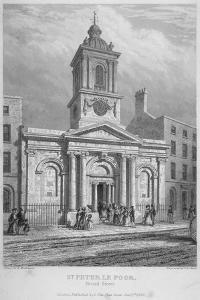 Church of St Peter-Le-Poer with the Congregation Entering, City of London, 1839 by John Le Keux