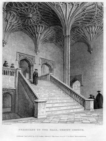 Staircase to the Hall, Christ Church, Oxford University, 1833 by John Le Keux