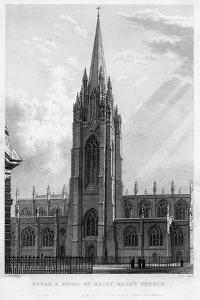 Tower and Spire of Saint Mary's Church, Oxford, 1833 by John Le Keux