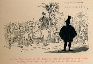 In the foreground of the Tableau may be observed a Patrician by John Leech