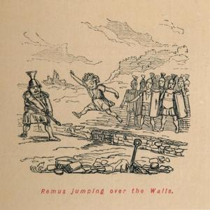 'Remus jumping over the Walls', 1852 by John Leech