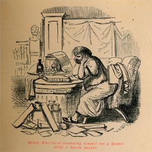 'Scipio Aemilianus cramming himself for a Speech after a hearty Supper', 1852 by John Leech