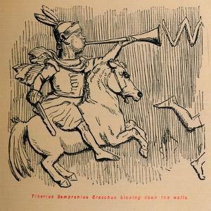 'Tiberius Sempronius Gracchus blowing down the Walls', 1852 by John Leech