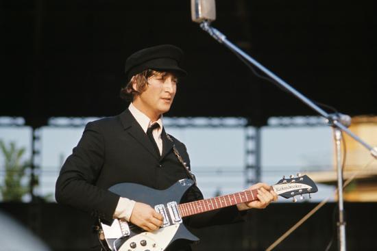 John Lennon Playing Guitar--Photographic Print