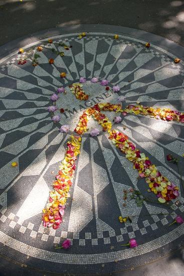 John Lennon Tribute in Strawberry Fields in Central Park, New York--Photographic Print