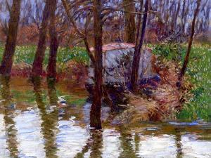 The River Epte with Monet's Boat-Atelier, C.1887-90 by John Leslie Breck