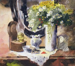 Still Life with Lamp and Flowers by John Lidzey