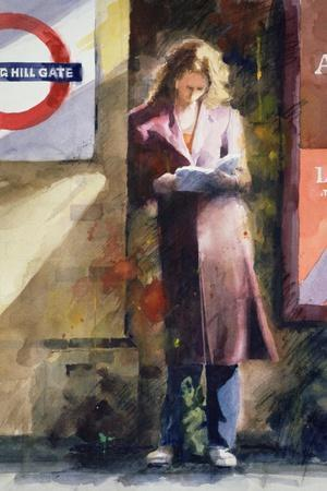 Woman Reading on Notting Hill Gate Platform