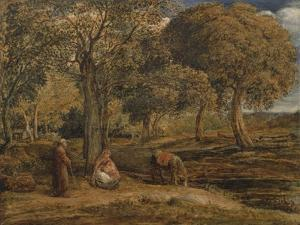 Landscape with Family Group, Possibly the Rest on the Flight into Egypt, C.1827 by John Linnell