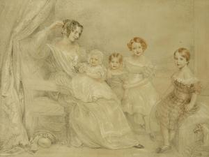 Portrait of Mrs W.S. Fry and Her Four Children: Emma, Willy, Julie and Georgina, Seated in an… by John Linnell