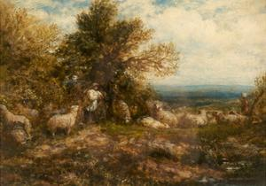 Sheep at Rest; Minding the Flock, C.1840-80 by John Linnell