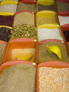 Corn and Grains Displayed in Market, Cuzco, Peru by John & Lisa Merrill